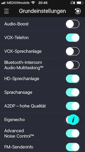 Sena 30 K Test App Grundeinstellungen