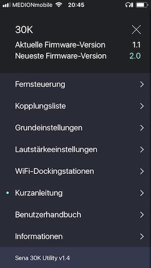 Sena 30 K Test App Hauptmenü