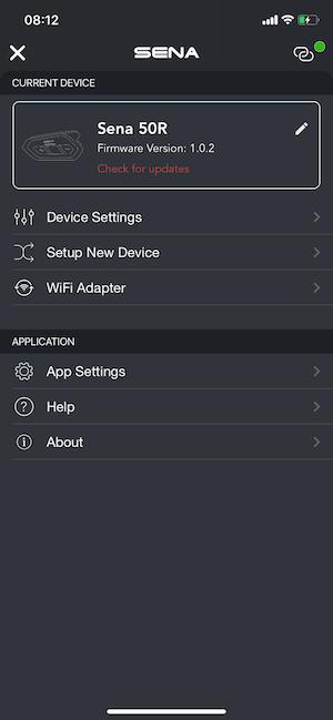 Sena 50R Test App IOS